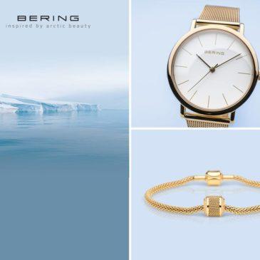 Een goddelijke goudkleurige horloge in typische BERING-stijl!!